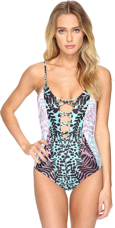 Mara Hoffman Womens Tanya Lattice Front One Piece Swimsuit
