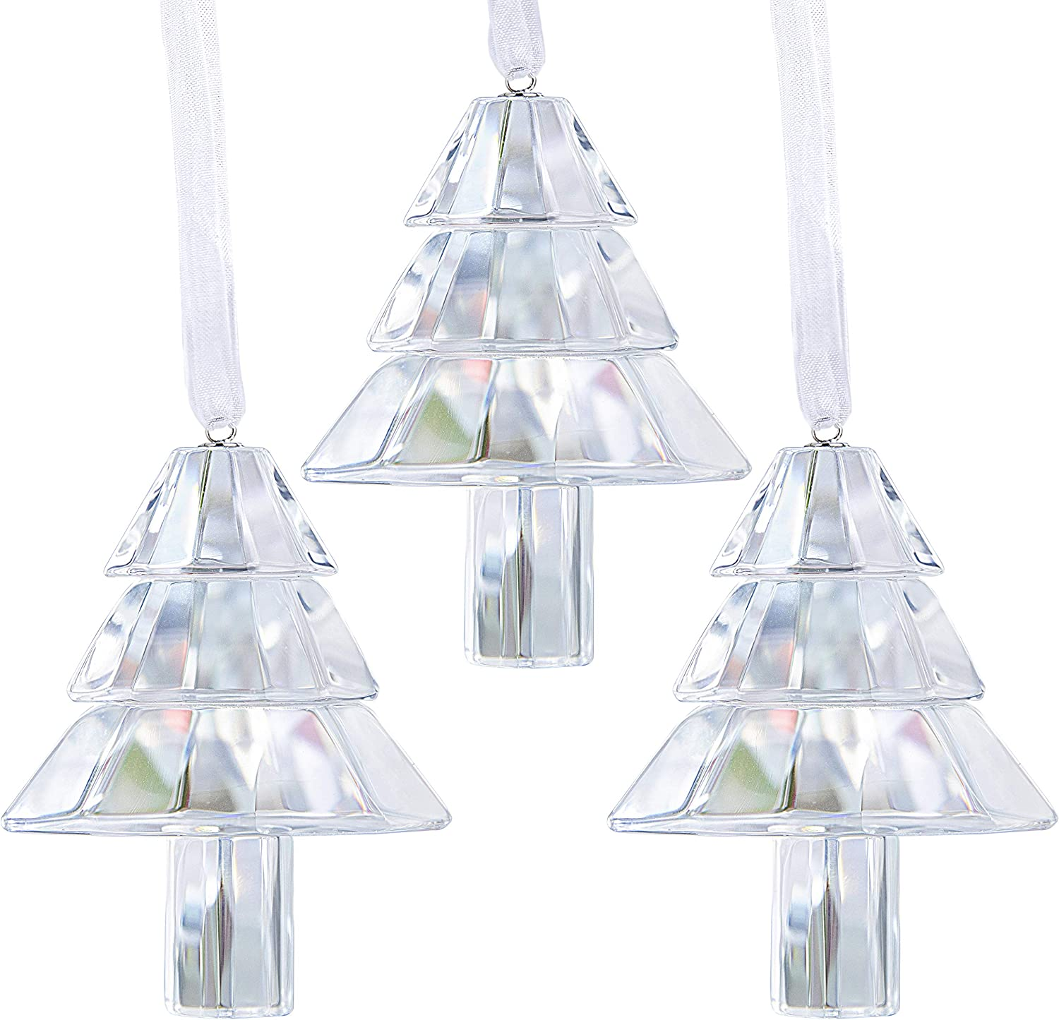 HDCRYSTALGIFTS 3pcs Crystal Christmas Tree Hanging Figurine Glass Holiday Ornaments Sparkly Decoration Accessories Party Home Decor(with Gift Box)