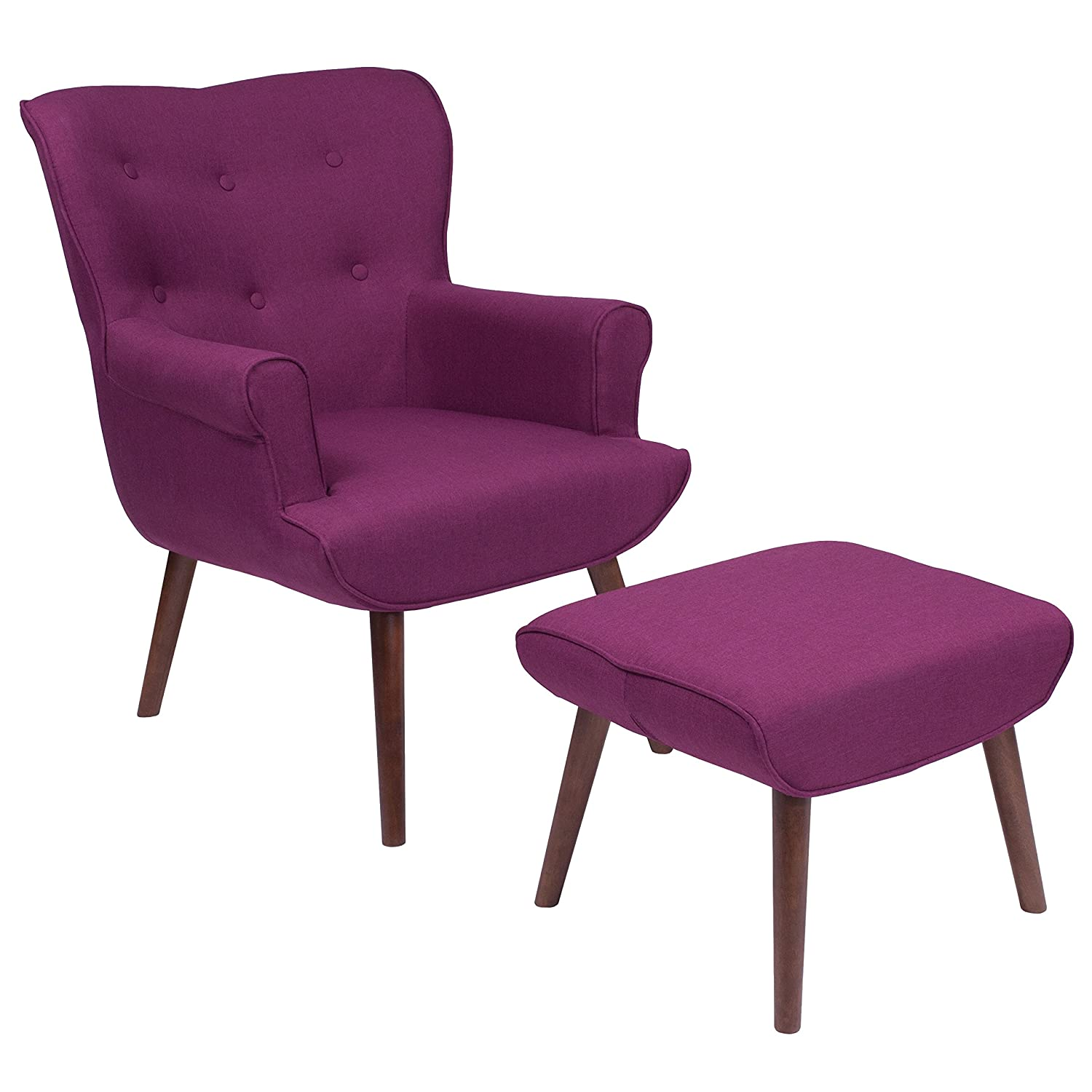 Amazon com flash furniture bayton upholstered wingback chair with ottoman in purple fabric kitchen dining