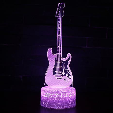 Tsqqst Cross Border 3D Night Lamp, Lámpara De Cabecera De La Guitarra Eléctrica Diy Men