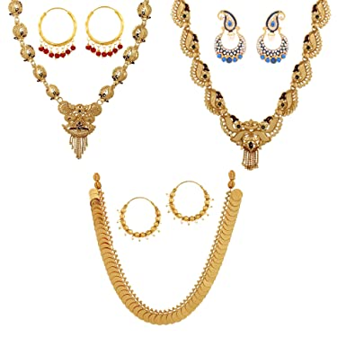 Buy GoldNera Traditional Gold Necklace Set Temple Jewellery