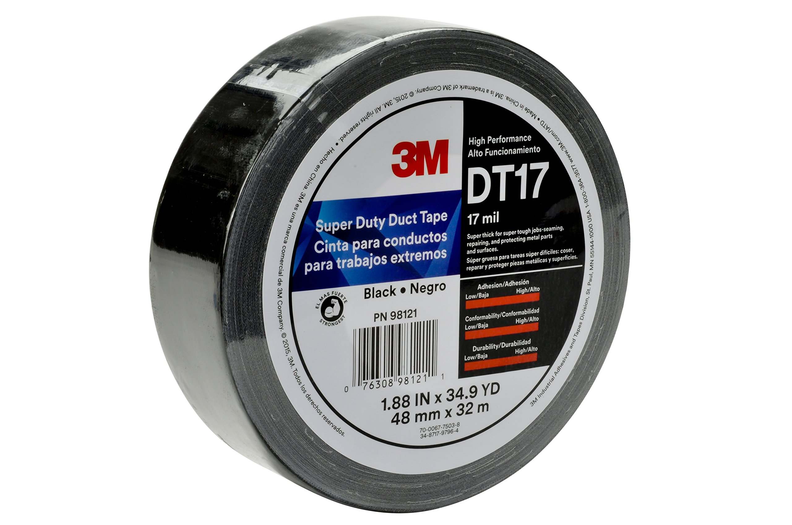 3M Super Duty Duct Tape DT17 Black, 48 mm x 32 m 17 mil, Individually Wrapped Conveniently Packaged (1 Roll)