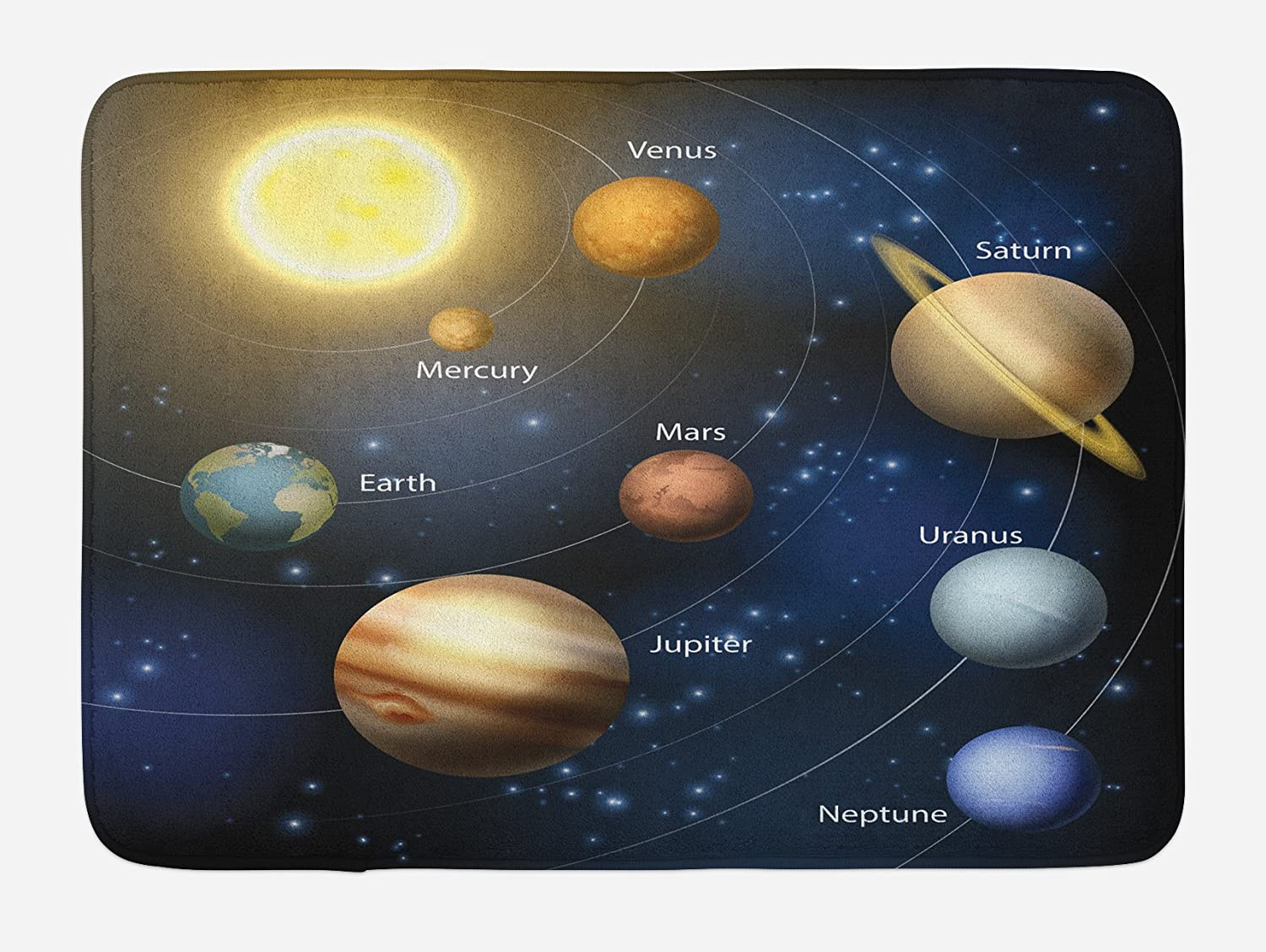 Ambesonne Science Bath Mat, Realistic Illustration of Solar System Sun Planets Orbit Astronomy Outer Space, Plush Bathroom Decor Mat with Non Slip Backing, 29.5