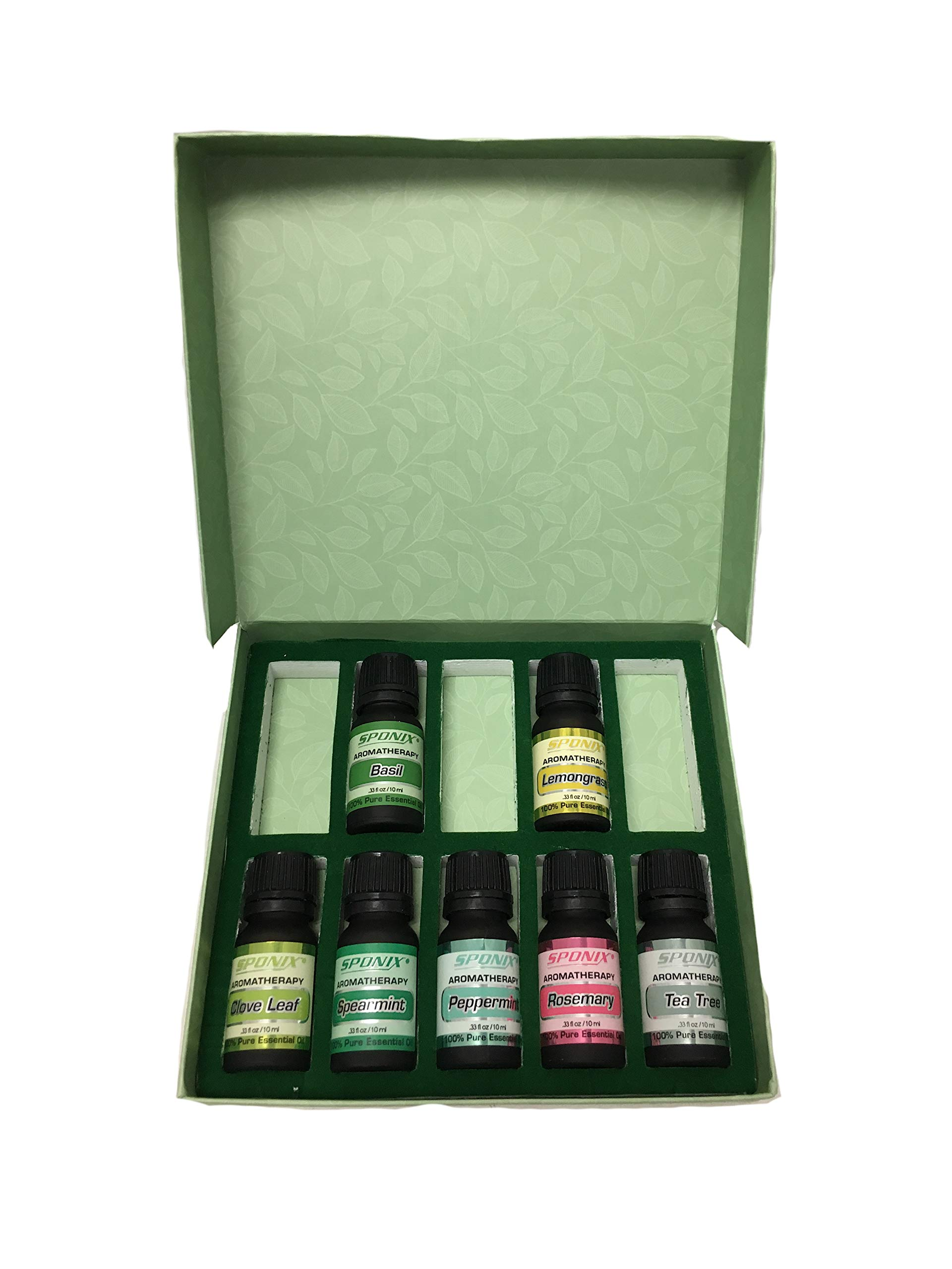 Top Essential Oil Gift Set - Best 7 Aromatherapy Oils - Clove Leaf, Lemongrass, Peppermint, Rosemary, Tea Tree, Basil, Spearmint - Therapeutic Grade and Premium Quality - 10 mL by Sponix by Sponix