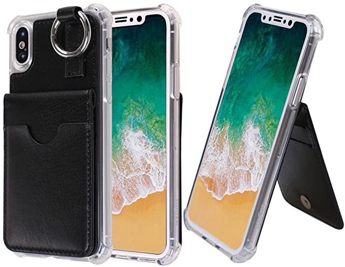 lowest price 3813c 19263 iPhone X Case, [Pocket Ring Bumper] Credit Card Case [Kick Stand]  Protective Hybrid Case [Key Ring Holder] with 3 Cards Slot Wallet for  iPhone X ...