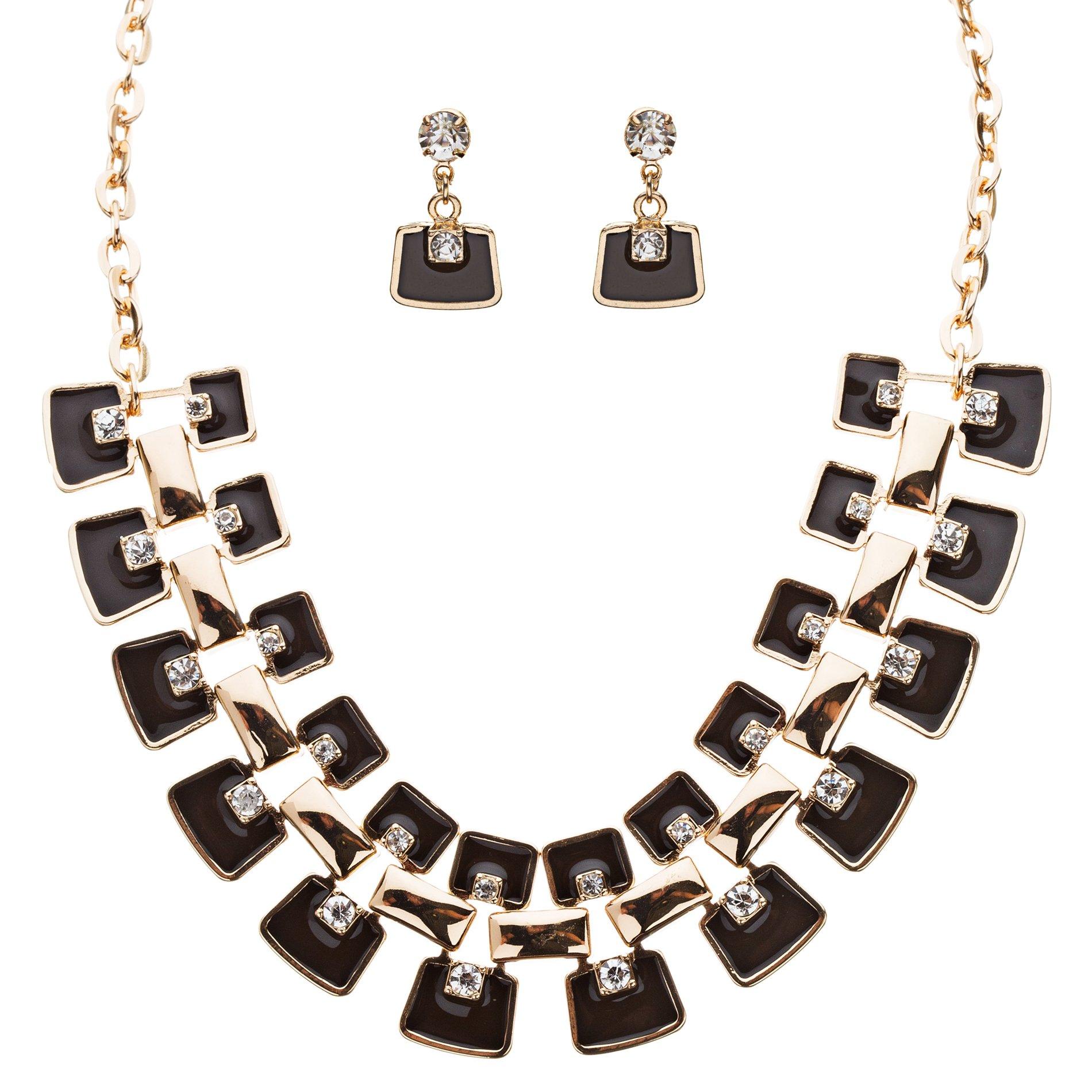 Modern Trendy Chic Bold Design Statement Necklace Set JN173 Black