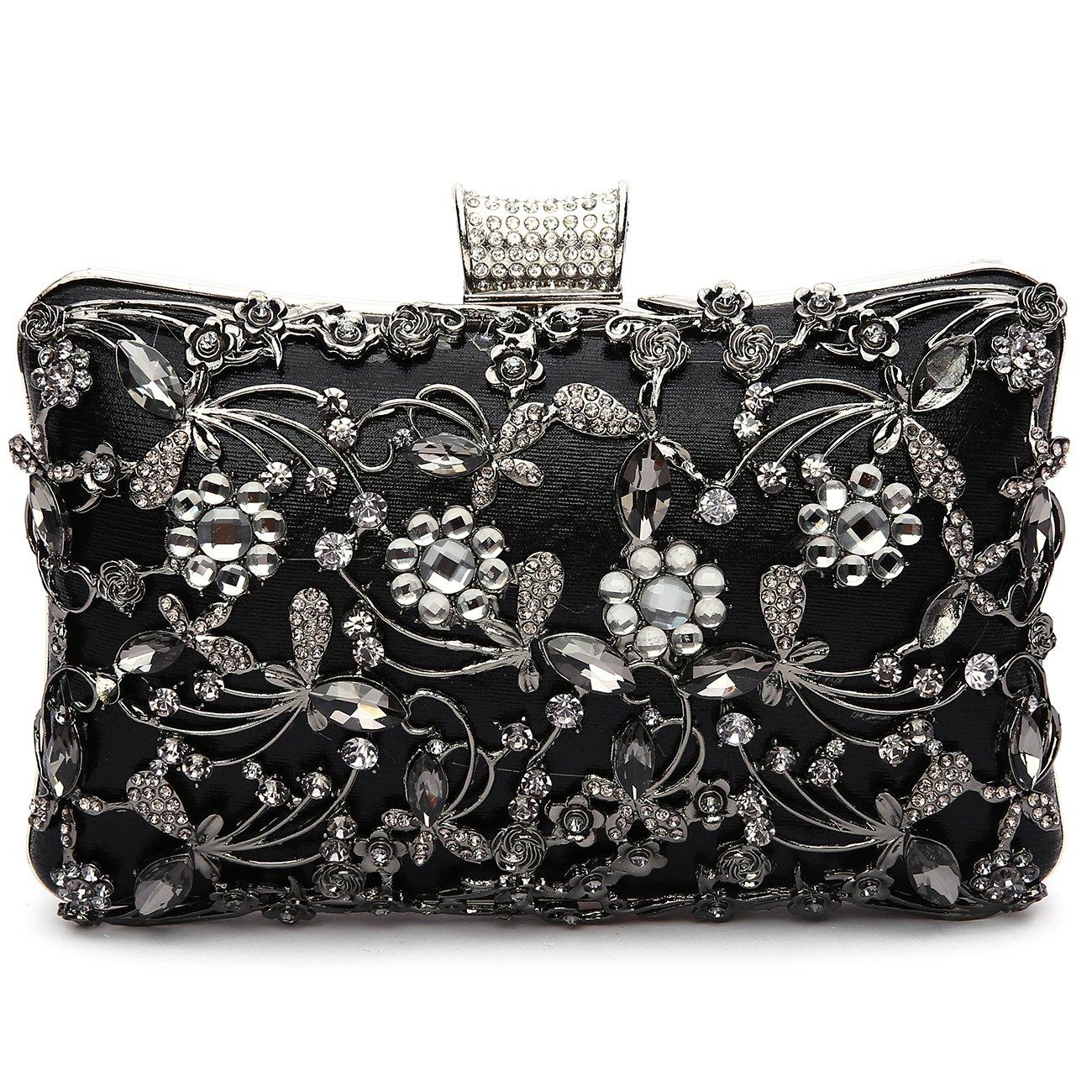 GESU Large Womens Crystal Evening Clutch Bag Wedding Purse Bridal Prom Handbag Party Bag.(Black)