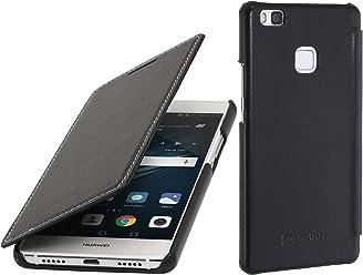 StilGut Book Type Case Senza Clip, Custodia in Vera Pelle a Libro per Huawei P9 Lite, Nero Nappa