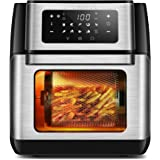 CROWNFUL 10-in-1 Air Fryer Toaster Oven, Convection Roaster with Rotisserie & Dehydrator, 10.6 Quart, Digital LCD Touch Scree