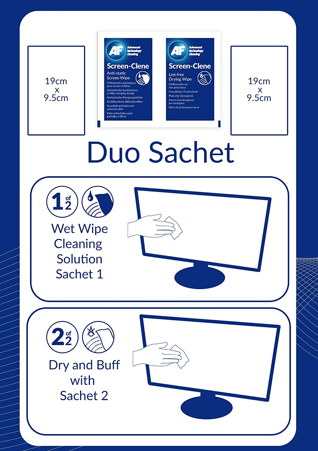 Amazon.com: AF Screen-Clene Duo - Reinigungstücher (Wipes) (Packung mit 20) : Kitchen & Dining