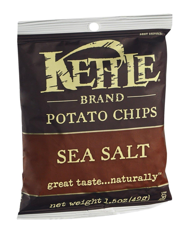 Kettle Brand Sea Salt Potato Chips, 1.5 Ounce - 24 per case.