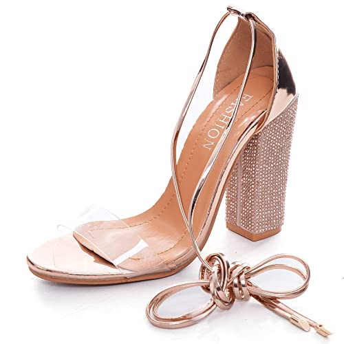 f0de2f2c03345 Women's Rhinestone Heels Gladiator Lace up High Heels Sandals with Ankle  Strappy Clear Chunky Heels Open Toe Covered Stiletto Dress Party Pumps Shoes