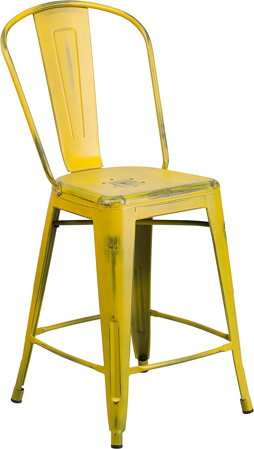 """Flash Furniture Commercial Grade 24"""" High Distressed Yellow Metal Indoor-Outdoor Counter Height Stool with Back"""