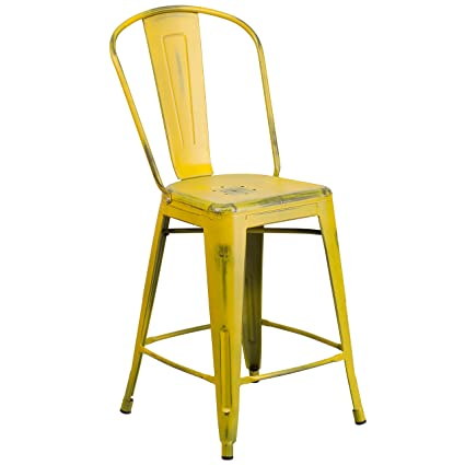 Awesome Flash Furniture 24 High Distressed Yellow Metal Indoor Outdoor Counter Height Stool With Back Short Links Chair Design For Home Short Linksinfo