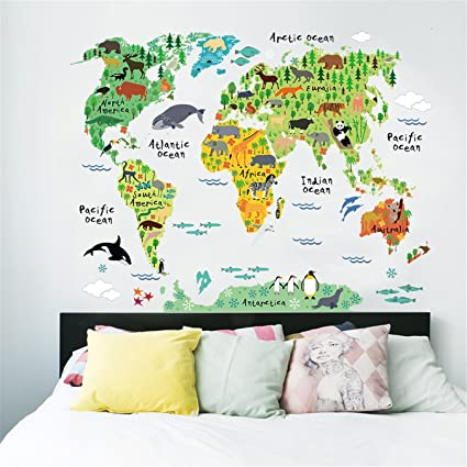 Amazon ch diy removable educational animal world map wall ch diy removable educational animal world map wall stickers art home decor vinyl wall decal mural gumiabroncs