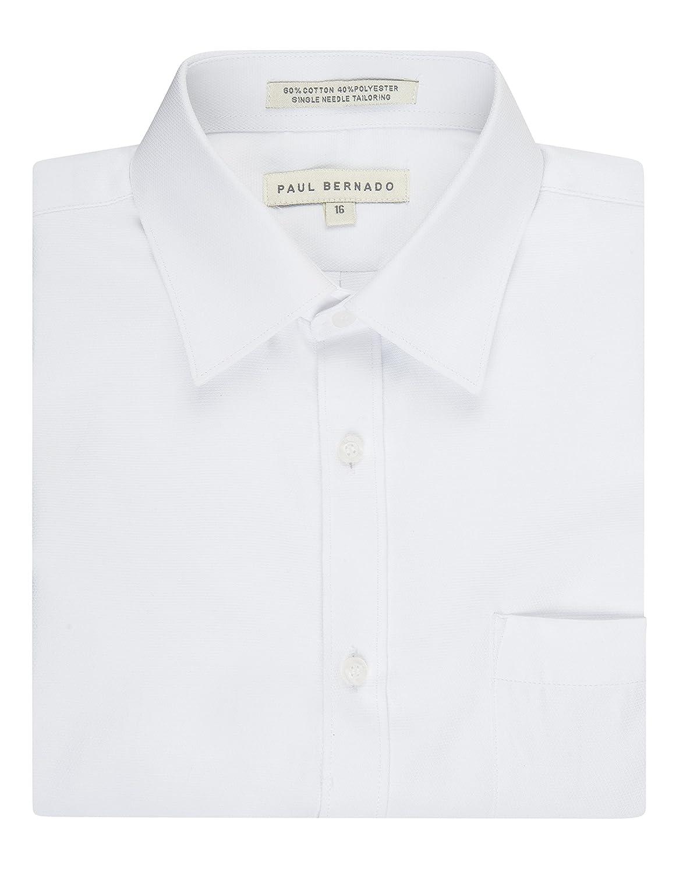 Paul Bernado Boy's Short Sleeve Pique Design Dress Shirt Regular Husky Sizes Available