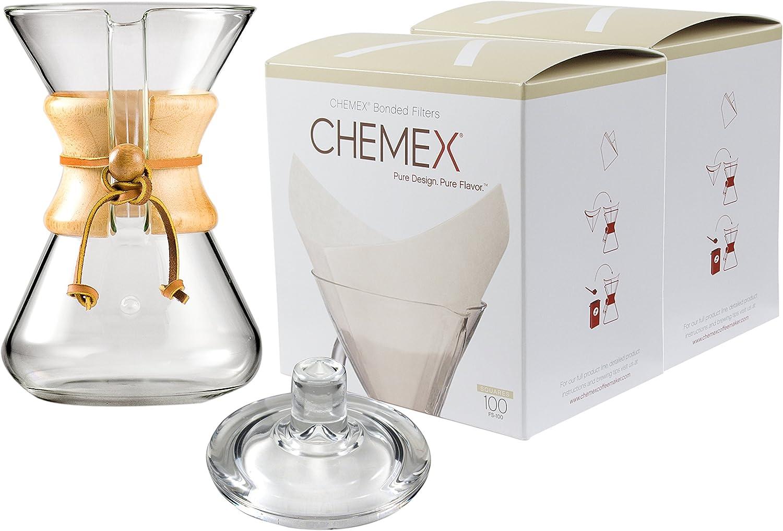 Chemex con cuello de madera y con cristal 30 oz cafetera eléctrica ...