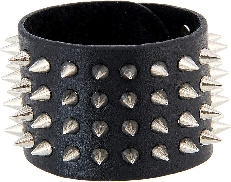 Xusamss Punk Alloy Multi-Row Rivet Spike Width Leather Wristband Bracelet Bangle