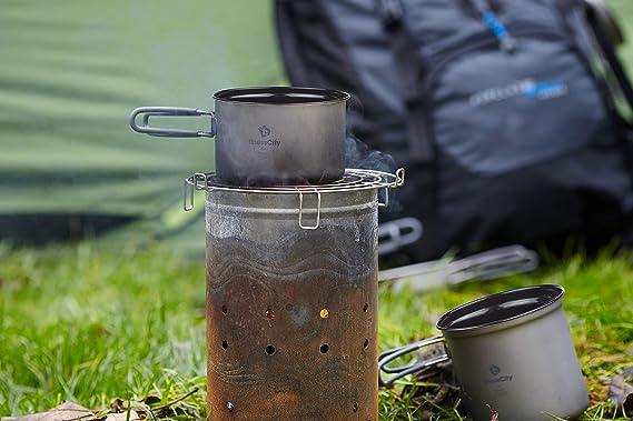 finessCity Titanio Camping Olla Antiadherente de 1.2L/800 ml y 400 ml Antiadherente Camping Pan Cocinar al Aire Libre Equipo Mess Kit, Fuerte Ligero ...