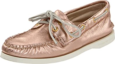 f8cfe933d372 Sperry Sperry A O 2-Eye Leather rose gold metallic Shoes Womens Pink ...