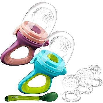 ANGELBLISS Fruchtsauger Baby//Schnuller bei/ßring Babynahrung Nahrungsmittelzufuhr - Fruchtsauger Baby//Schnuller in appetitanregenden Farben 2 St/ück BPA-frei Inklusive Silikon-Nippel S, L