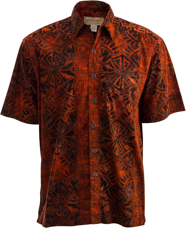 Johari West Geometric Sunset Hawaiian Batik Tropical Cotton Shirt