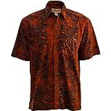 Johari West Hawaiian Short Sleeve Cotton Button-Down Batik Shirt for Men
