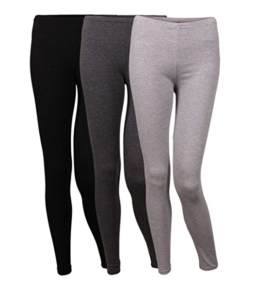 Friday Chic 3 Pack Stretchy Ultra Soft Jersey Full Length Multicolored Leggings