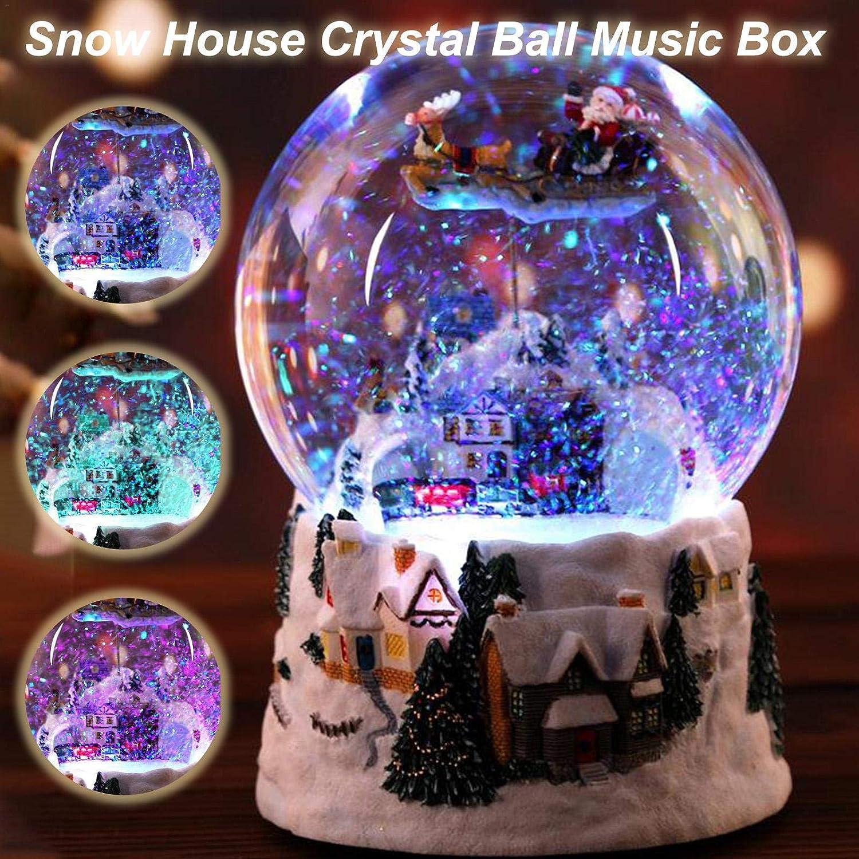 MRlegendary Christmas Snow Globe Rotatable Luminous Crystal Ball Music Box With Snow House Scene Santa Claus Elk Train Christmas Decoration Gifts For Children