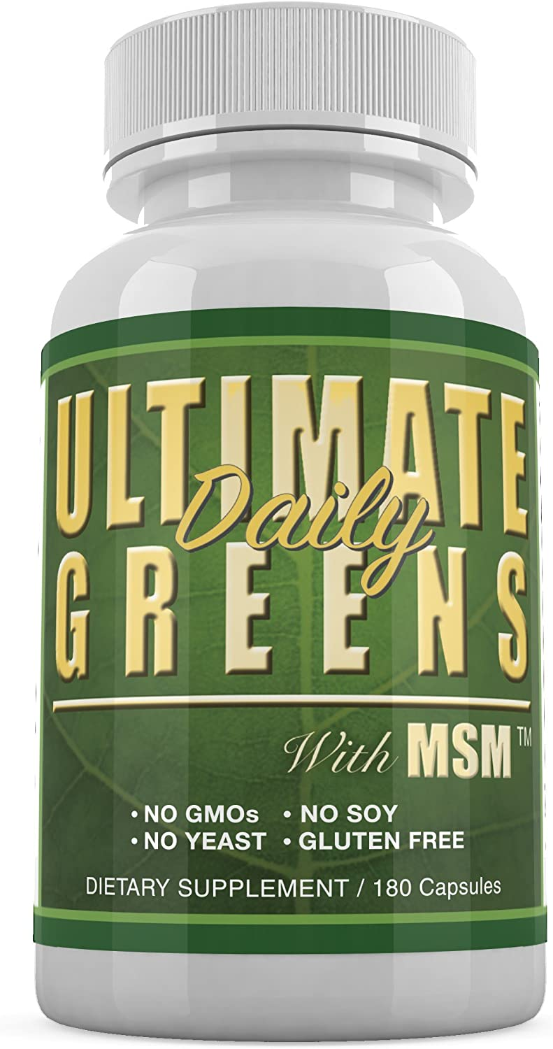 Daily Health, Ultimate Greens with MSM 1925mg Vegan Friendly Natural Ingredients Gluten Soy Free NO GMO Superfood Vegetable Nutritional Alkalizing Immune Energy Support Supplement 180 Capsules