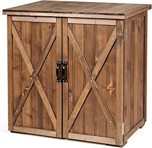 Goplus Compact Wooden Storage Shed, 2.5 X 2 Ft Fir Wood Cabinet for Garden Yard Patio