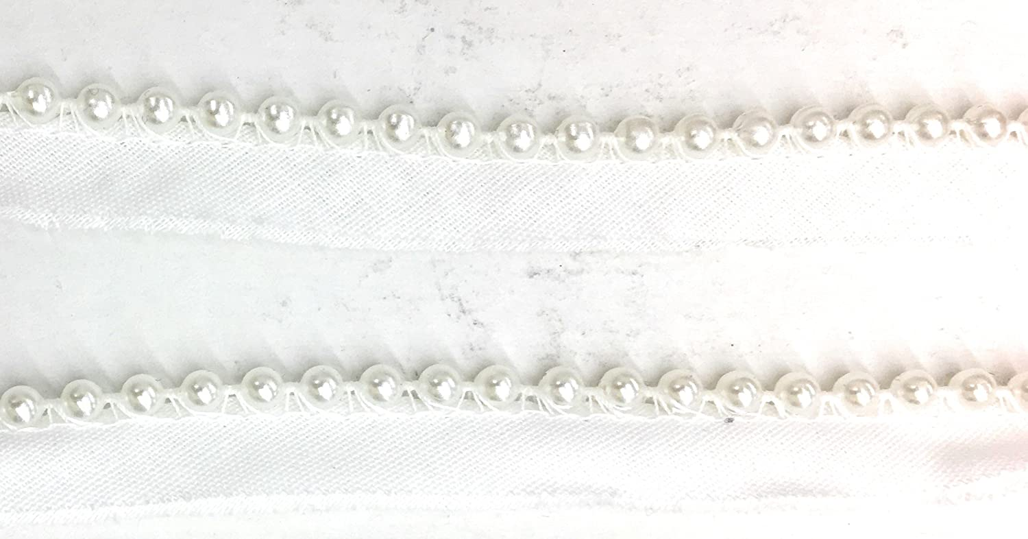 Pearl on white lip -Lip Cord for Clothing Pillows Pearl Cord-edge Piping,Trim Lamps Draperies 5 Yards