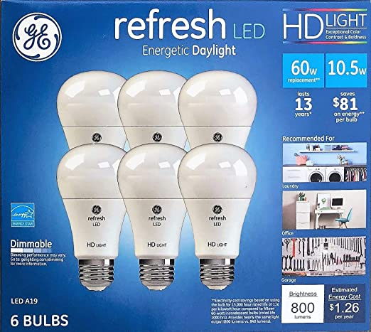 ge refresh high definition led light bulb 10 5 watt 5000k energeticge refresh high definition led light bulb 10 5 watt 5000k energetic daylight 800 lumens 6 pack 60 watt replacement dimmable a19 amazon com