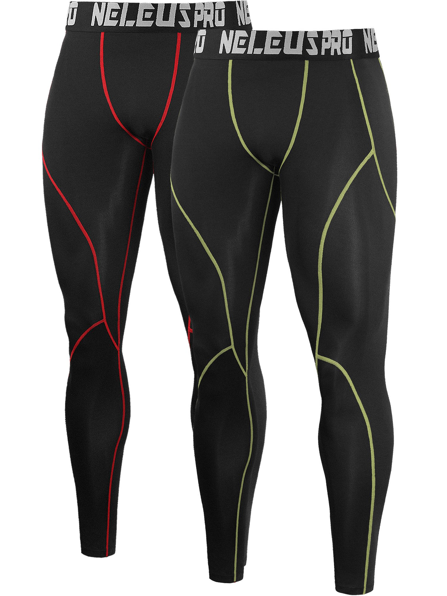 Neleus Men's 2 Pack Compression Pants Workout Running Tights Leggings,6013,Black (Red Stripe),Black (Green Stripe),US S,EU M