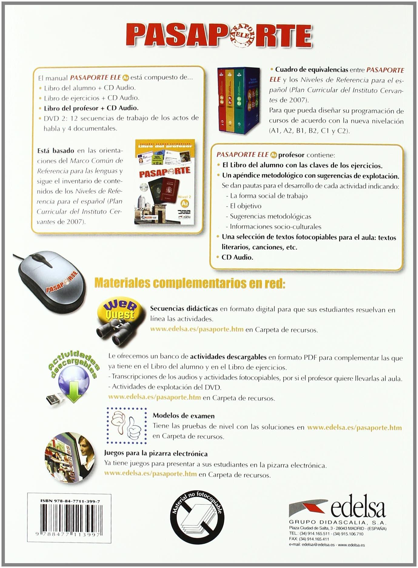 Pasaporte ELE 2 (A2). Libro del profesor + CD Audio (Spanish ...