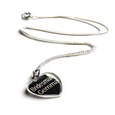 c706ddc3c2702 Aye Do Ltd Heart Pendant-Personalised NAME Engraved Necklace-16INCH-Sterling  Silver-Gift-Girl  Amazon.co.uk  Jewellery