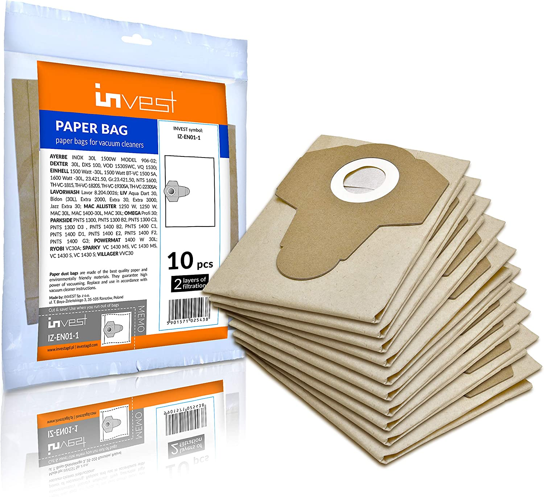 PNTS 30//6 1300 B2 C1 D1 PNTS 1400 1400 B2 1500 Lot de 10 sacs daspirateur pour Parkside 1300 D3 1300 A1
