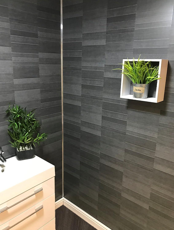 DBS Carbon Modern Tile Effect Bathroom Wall Panels Kitchen Cladding Shower Wall PVC 8 Panels