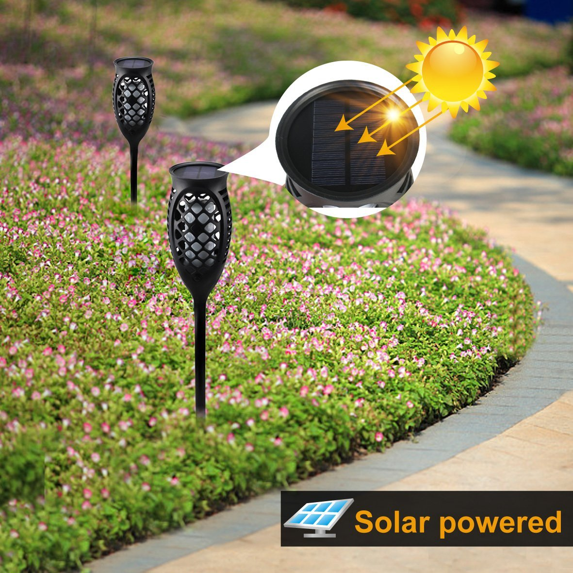 Juhefa Solar Lights Outdoor, Solar Torch Light Flickering Flame 99 LED Waterproof Garden Lighting Pathway Patio Landscape Decoration, 3 Modes & 3 Mounting Options, Dusk to Dawn Auto On/Off (4) by Juhefa (Image #3)