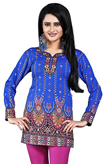 ff7bd5534d Women's Indian Kurti Top Tunic Printed Blouse India Clothes (Blue, ...