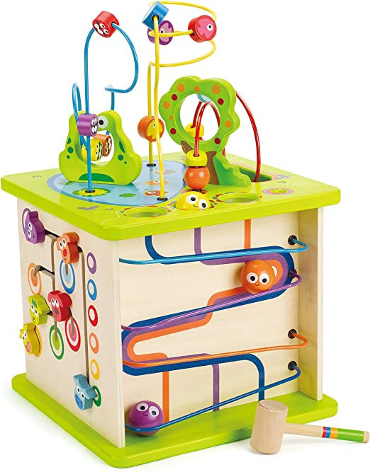ACOOLTOY Activity Cubes Wooden Toy 6 in 1