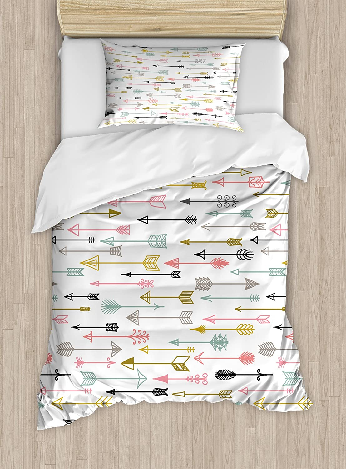American Aztec Najavo Inspired Style Artwork Image, Decorative 2 Piece Bedding Set