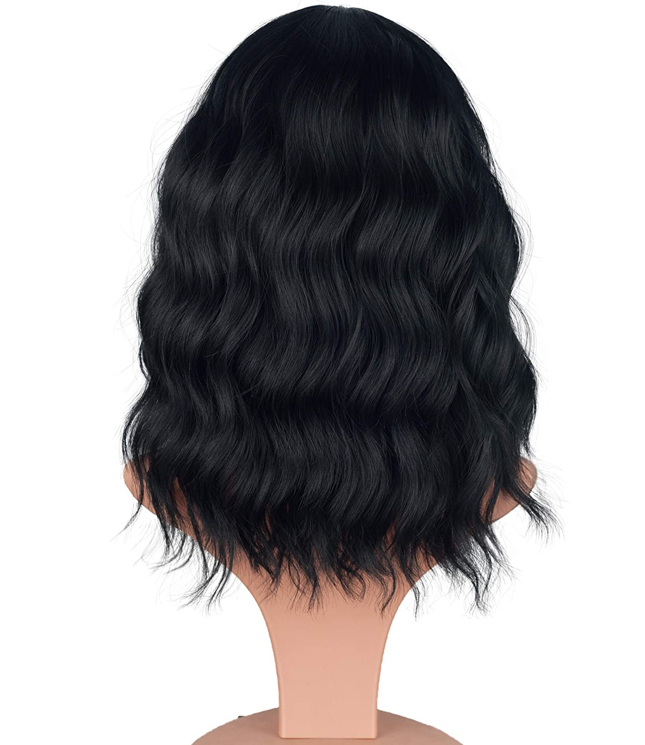 Fashion Short wavy wigs for black women Black Mix Brown Curly Hair Wigs With Bangs None Lace Synthetic Full Wigs Heat Resistant Cosplay Party Custom Wigs Black Mix Brown