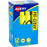HI-LITER Desk Style stick 12 per pack Fluorescent Yellow