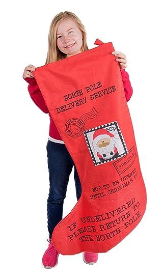 Clever Creations - Calcetín de Navidad Gigante - Tela de Tacto de Peluche - Correo de