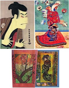 3 Different Art Postcards - Madame Monet, Yakko Edobei, Sharaku, Japanese Art - 3D Lenticular Postcard Greeting Cards