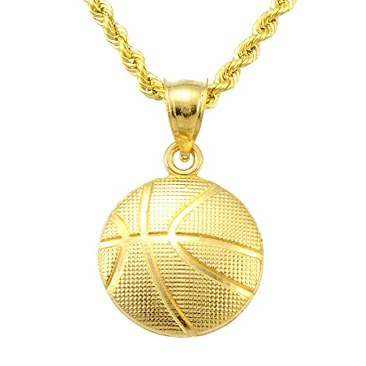 Amazon 14k yellow gold basketball pendant necklace 16 inches 14k yellow gold basketball pendant necklace 16 inches rope chain mozeypictures Images