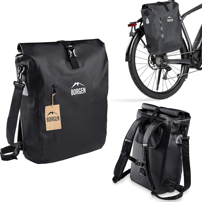 Borgen Bolsa de bicicleta para portaequipajes, 3 en 1, mochila para bicicleta, bolsa para portaequipajes, bolso bandolera, 100% impermeable y reflectante, con funda extraíble para portátil