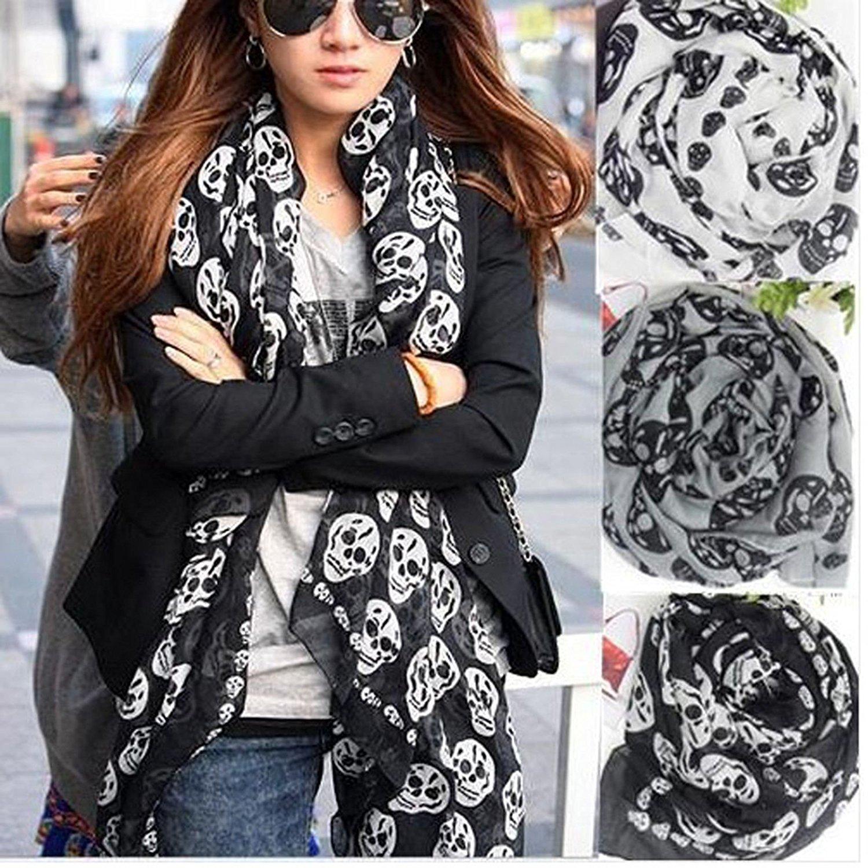 alltree Unisex teschio stampa chiffon sciarpa bandana ornamentali cozy-black