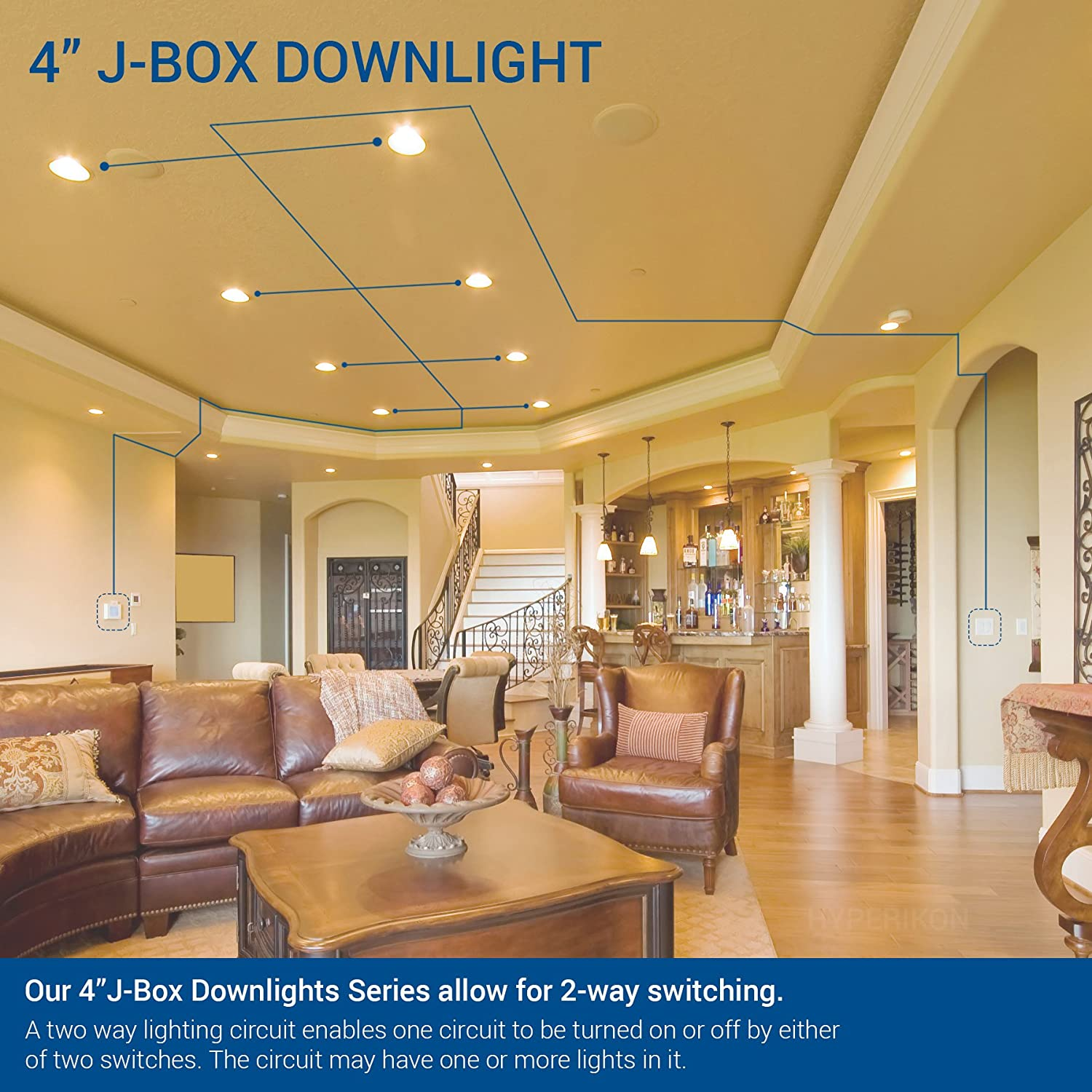 8.5W 18 Pack Dimmable Daylight Glow Slim Retrofit Airtight Downlight for Dry//Damp Locations 4000K 60W Equivalent HyperJBDL4-40 UL Hyperikon 4 Inch Recessed LED Downlight with Junction Box Energy Star Inc